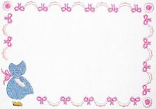 Sunbonnet Sue Embroidered quilt label bow ribbon to personalize message included