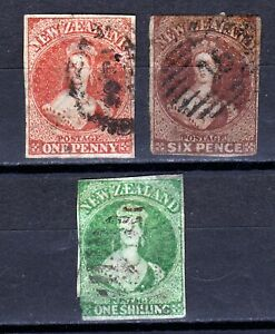 New Zealand- Group of early Chalon Head stamps. Imp. Used. See note below