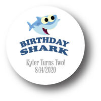 30 Baby Shark Personalized Birthday Party Favors Treat Bag Stickers