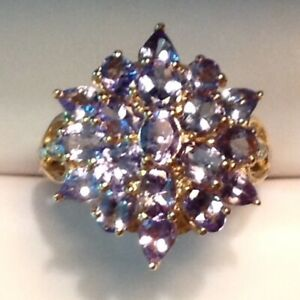 ~New Exquisite 2.5 CTW Tanzanite Cluster Ring 10K Solid Yellow Gold Size 7
