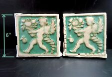 "(2) Very Rare - Grueby Pottery Green Cupid w/Cornucopia 6"" x 6"" Tiles"