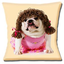"""BRAND NEW ENGLISH BULLDOG ADULT CUTE DRESSED GIRL PINK 16"""" Pillow Cushion Cover"""