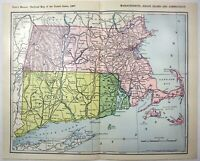Massachusetts, Rhode Island & Connecticut - Original 1907 Railroad Map. Antique