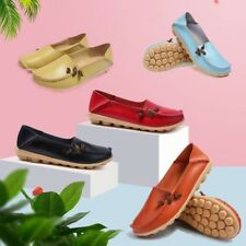 Womens Casual Flat Shoes Leather Comfort Driving Loafers Peas Moccasin Walking
