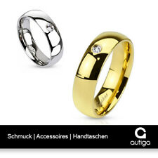 Herren Damen Ring Edelstahl Zirkonia Kristall Partnerring Ehering