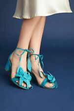 Schutz Ilkay Caribe Blue Block City  3D Design Floral Heels Sandals