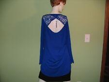 Top Royal Blue Long sleeve Open Lace Back Bongo Plus size 1X machine wash