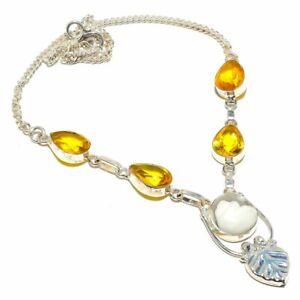 "Ocean Jasper Citrine Gemstone 925 Sterling Silver Jewelry N-31 Necklace 18"""