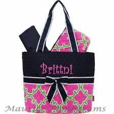 Personalized Geometric Diaper Bag Set Hot Pink, Green, & Navy FREE Monogram