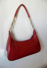 French Vintage Red Leather? Baguette Shoulder PURSE Bag, Partly Gold Chain Strap
