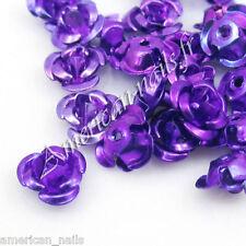 Fleurs ROSES en Métal Bijou deco d'ongles Nail Art Violet 6mm