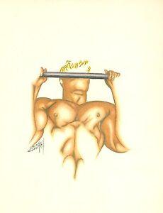 THE CHIN UP Man Male Bodybuilding Figure Original Pencil Illistration Drawing