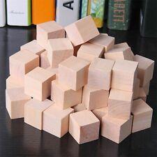 20 Pcs Natural Wooden Square Cubes Blocks Embellishment for Kids Toys Craft 25mm