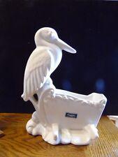 Vintage Haeger Ceramic Baby Blue Stork on Rocking Baby Crib Planter