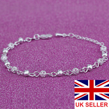 Womens Wrist Bracelet Frosted Ball Chain Fashion Gift 925 Sterling Silver Plated