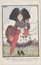 CARTE POSTALE FANTAISIE HANSI/ ALSACIENNE/d'après l'estampe et la poupée- GALLAY