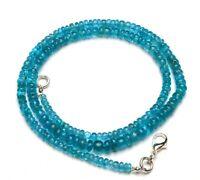 "Details about  /Natural Neon Blue Apatite Necklace 4-5.5mm Rough Unpolished Rondelle Beads 18/"""