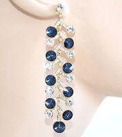 ORECCHINI ORO BLU donna pendenti cristalli strass eleganti cerimonia boucles E10