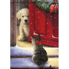 "Welcome Home House Flag 28"" x 40"" Double sided Flag by Carson Dog Cat Winter"