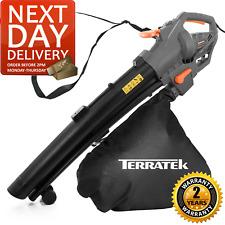 More details for terratek leaf blower electric garden vacuum and shredder, 35l leaf bag, 3000w