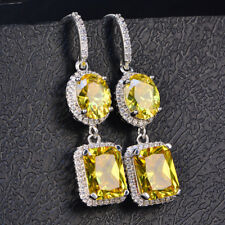 925 Silver Shiny Emerald/Oval Sapphire CZ Drop/Dangle Earrings Jewelry 5 Color