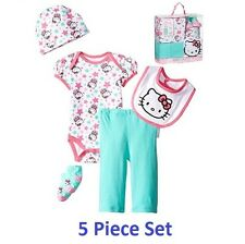 NWT Hello Kitty Girls' Pink Baby 5 Piece Gift Set in a Box, 0-6 Months Newborn
