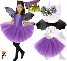 Kids BAT WINGS TUTU COSTUME Scary Halloween Spooky Gothic Vampire Fancy Dress