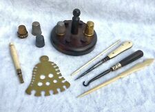 More details for collection job lot old sewing tools thimble / reel stand button & tambor hooks