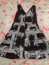 portmans 10 dress Zip Fit And Flare black blue floral summer retro
