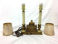 VINTAGE METAL TWIN LIGHT LAMP W/ PIANIST PLAYING PIANO