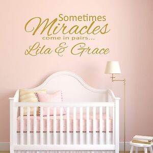 Twins wall sticker Personalised sisters brothers princess decal graphic 3 sizes