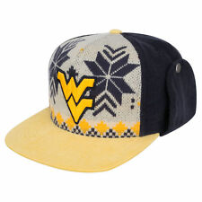 West Virginia Mountaineers NCAA Dog Ear Down Flap Strapback WVU Flatbill Hat Cap
