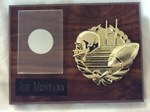 Plaque for Football Card Joe Montana engraved, insert your own Joe Montana card