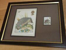 Framed  - 9p Hedgehog Stamp and Postcard  (1977)
