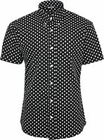 Relco Mens Black & White Polka Dot Short Sleeved Shirt Mod Skin Retro Indie
