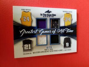 KOBE BRYANT SHAQUILLE O'NEAL TIM DUNCAN PARKER GAME USED JERSEY CARD #4/35 ITG