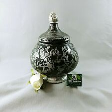 """Storage Canister Decorative Jar with Lid Textured Black & Silver 9 1/2"""" Tall"""