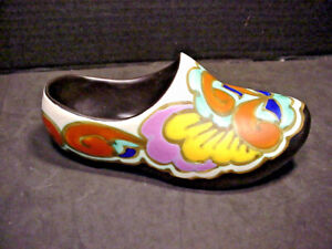 Flemish Art Pottery Dutch Shoe Planter Wall Pocket Hand Painted Made in Belgium