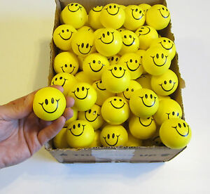 """12 SMILE SMILEY FACE STRESS RELIEF BALLS 2"""" FOAM HAND THERAPY SQUEEZE TOY BALL"""