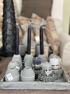 Kerzenleuchter Kerzenhalter für Stabkerzen grau Beton Zapfen