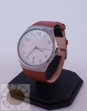 Skagen Men's Sundby White Dial Brown Leather Watch SKW6269, New