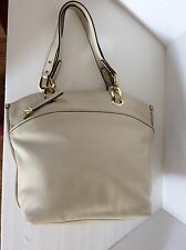 Perlina New York  Ivory Leather Hobo Shoulder Bag  Purse Display