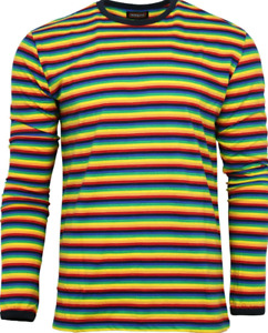New 60's/70's vintage retromod 90s long sleeved  t shirt with rainbow stripes