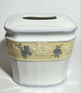 Ceramic Embossed Cube TISSUE BOX COVER  - White, Yellow, Gray Flowers - Perfect!