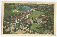 Alton Illinois Western Military Academy Aerial View Vintage Linen Postcard