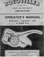Graham-Paige Rototiller Operators manual Model B1-6