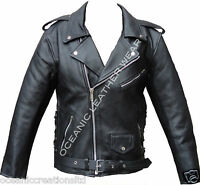 Black Armoured Motorcycle Motorbike Marlon Brando Retro Cruiser Leather Jacket