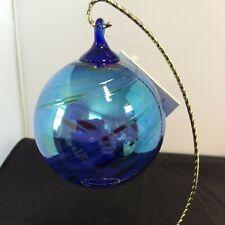 Glass Eye Studio Cobalt Feather Chip ball Ornament #10723