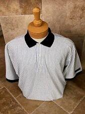 New NWT Faldo Pringle White and Navy Blue Mens Large Golf Polo Shirt $65.00 val.