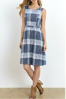 NWT OPEN BACK MIDI Blue Plaid DRESS